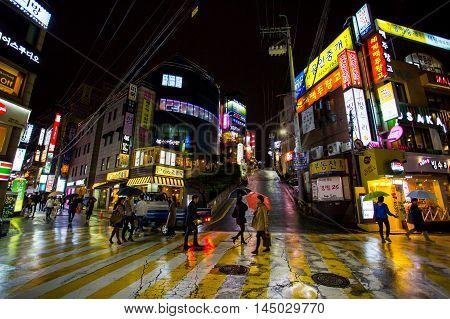 Seoul, Republic of Korea - October 21, 2014: Streets of Gangnam on a rainy autumn night in Gangnam-Gu, Seoul, Republic of Korea