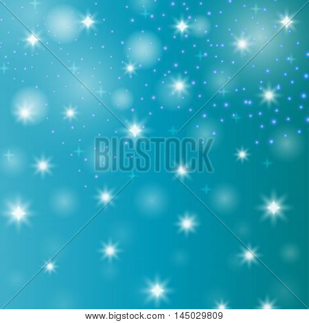 Abstract shapes star. Decorative symbol with snow. Bright wallpaper bokeh. Christmas art. New Year backdrop. Festive creative background. Simple graphic backdrop. Vector.