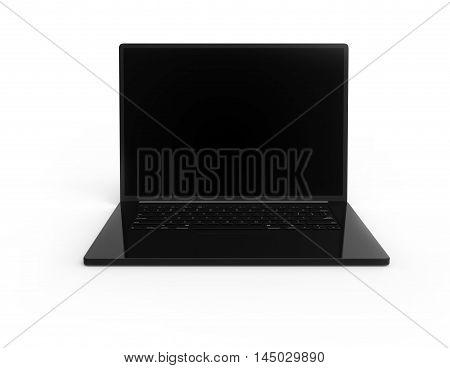 Illustration of 3D black laptop isolated on white background