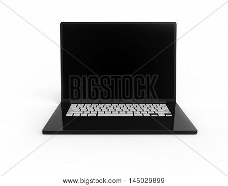 Illustration of Black 3D laptop with white buttons isolated