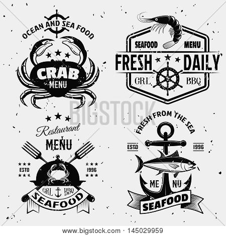 Seafood menu monochrome emblems with nautical symbols shellfish cloche on white background with stains isolated vector illustration