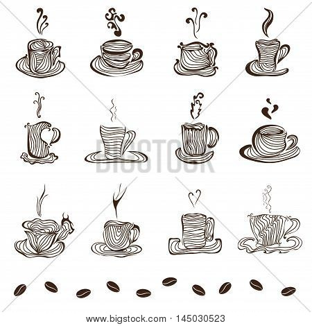 set of 12 hand drawn decorative coffee cups design elements