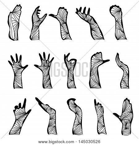 set of 15 hand drawn decorative hand silhouettes design elements