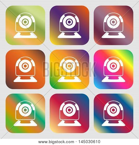 Webcam Sign Icon. Web Video Chat Symbol. Camera Chat . Nine Buttons With Bright Gradients For Beauti