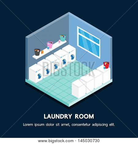Laundry shop isometric vector perspective design .