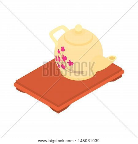 Kettle on tray icon in cartoon style isolated on white background. Dishes symbol