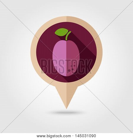 Plum flat vector pin map icon. Map pointer. Map markers. Fruit. Vector illustration eps 10