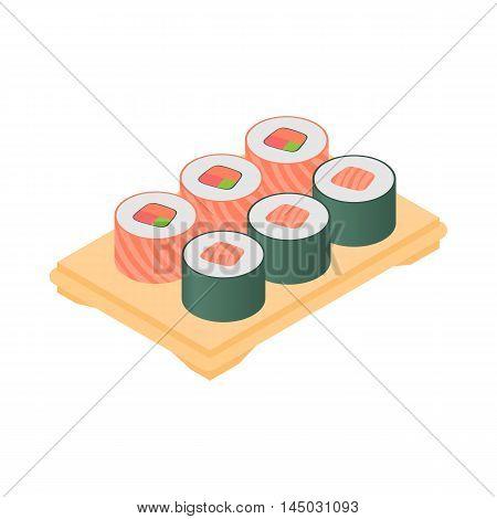 Sushi on tray icon in cartoon style isolated on white background. Food symbol