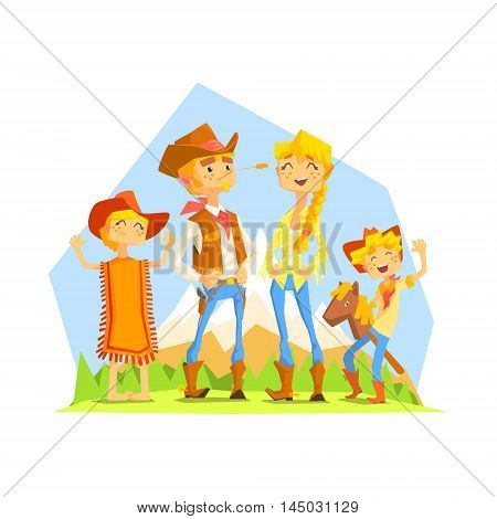 Family Dressed As Cowboys With Mountain Landscape On Background. Cool Colorful Wild West Themed Vector Illustration In Stylized Geometric Cartoon Design
