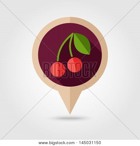 Cherry flat vector pin map icon. Map pointer. Map markers. Fruit. Vector illustration eps 10