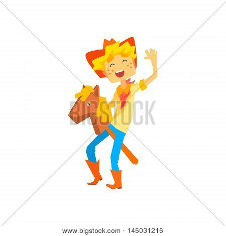 Boy In Cowboy Costume Riding Toy Horse Head On A Stick. Cool Colorful Wild West Themed Vector Illustration In Stylized Geometric Cartoon Design