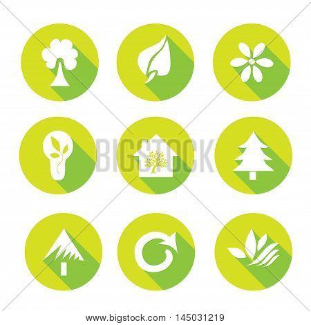 Set of 9 ecology flat icons design elements