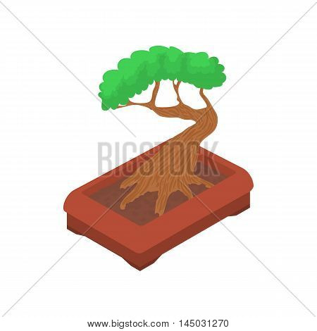 Bonsai tree icon in cartoon style isolated on white background. Plant symbol