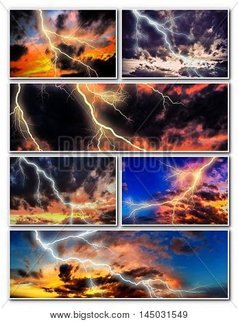 Night cityscape with strong lightning collage