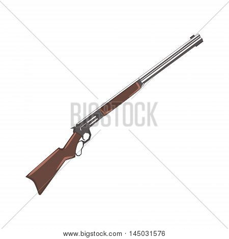 Rifle Cowboy Gun Drawing Isolated On White Background. Cool Colorful Wild West Themed Vector Illustration In Stylized Geometric Cartoon Design