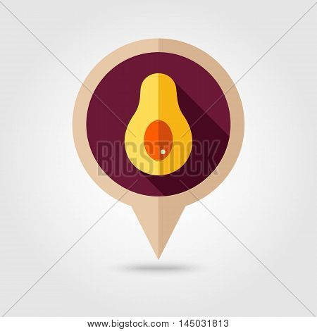 Avocado flat vector pin map icon. Map pointer. Map markers. Tropical fruit. Vector illustration eps 10