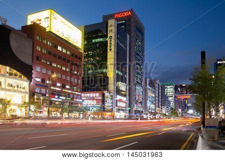 Seoul, Republic of Korea - October 22, 2014: Streets of Gangnam on a cool autumn night in Gangnam-Gu, Seoul, Republic of Korea