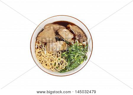 Steam duck and ramen in brown sauce isolated on white background.