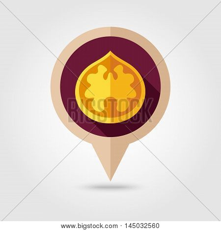 Walnut flat vector pin map icon. Map pointer. Map markers. Fruit Nut. Vector illustration eps 10