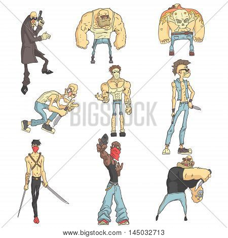 Dangerous Criminals Set Of Outlined Comics Style Illustrations. Adult Scary Outlaws Stylized Cool Stickers Isolated On White Background.