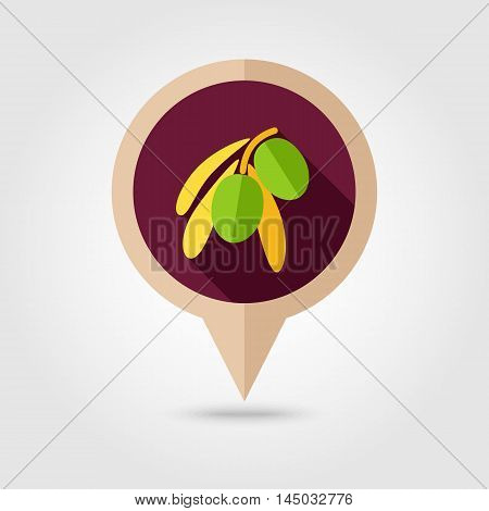 Olive flat vector pin map icon. Map pointer. Map markers. Tropical fruit. Vector illustration eps 10