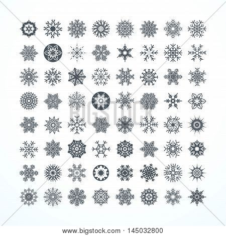 Collection of black snowflakes on a white background vector illustration