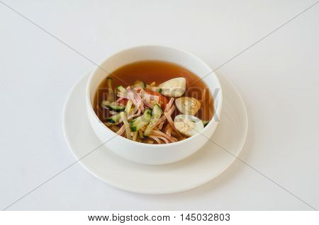 Traditional Russian kvass soup with vegetables - okroshka