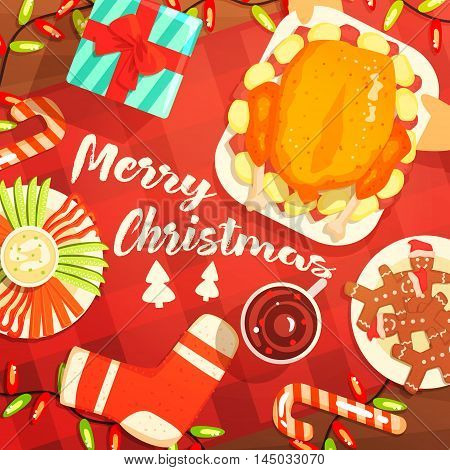 Merry Christmas Colorful Illustration With Classic Holiday Symbols Collection. Christmas Dinner Classic Elements View From Above Drawing In Bright Colors.