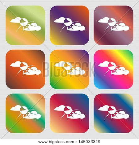 Sun Behind Cloud Sign Icon . Nine Buttons With Bright Gradients For Beautiful Design. Vector