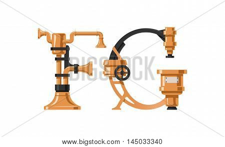 Steampunk letter made of different technical pieces: pipes blocks screws etc. Letter F and G.