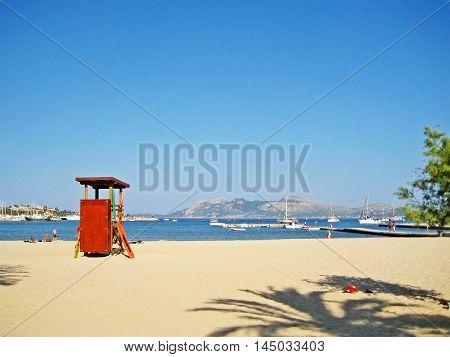 Beach With Lifeguard Tower In Port De Pollenca