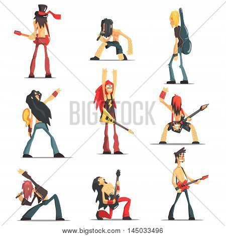 Rock Band Members Funny Characters Set Of Graphic Design Cool Geometric Style Isolated Drawings On White Background