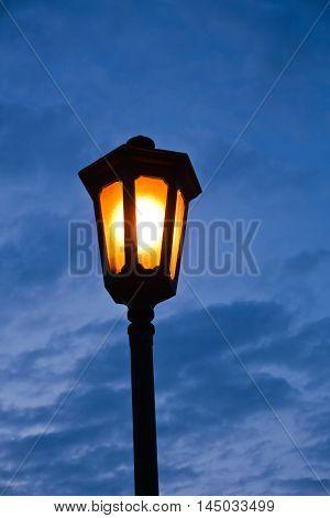 Old fashioned lantern at blue hour, Kalemegdan park in Belgrade, Serbia