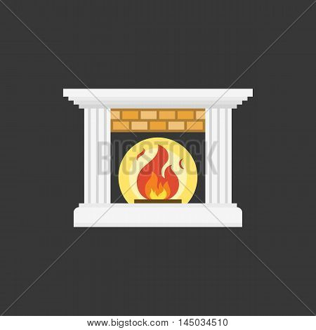 Fire and Fireplace icon, flat design on black background