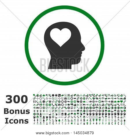 Lover Head rounded icon with 300 bonus icons. Vector illustration style is flat iconic bicolor symbols, green and gray colors, white background.