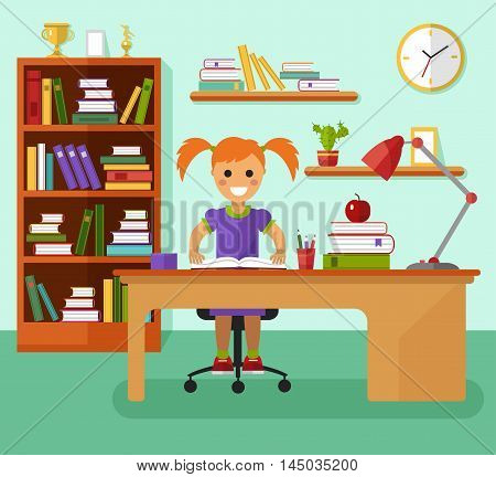 Kid learns concept. Smiling girl with two ponytail writes in notebook and learning in her room at the working desk, lamp, bookcase, files, book, prize goblets. Flat design vector illustration.
