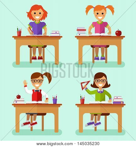 Flat design vector illustration of smiling girls sitting at the table with book, ruler, pencils, notebooks in classroom. Kids learns concept.