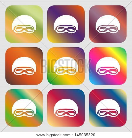 In A Ski Masks, Snowboard Ski Goggles, Diving Mask Sign Icon . Nine Buttons With Bright Gradients Fo