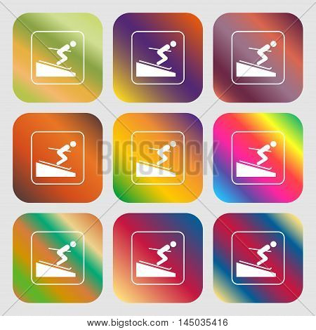 Skier Sign Icon . Nine Buttons With Bright Gradients For Beautiful Design. Vector