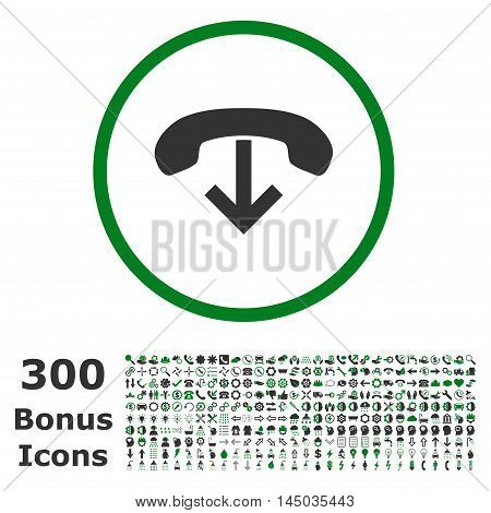 Phone Hang Up rounded icon with 300 bonus icons. Vector illustration style is flat iconic bicolor symbols, green and gray colors, white background.