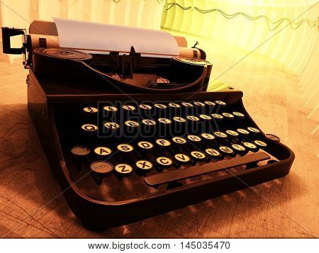 Vintage typewriter on a yellow background., 3d render