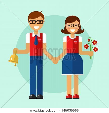 Flat design vector illustration of funny smiling boy and girl in glasses and school uniform holding their hands and going to school with bouquet of flowers and bell. Back to school concept.