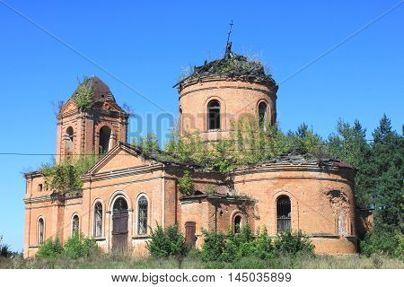 The old ruined church with no domes and crosses