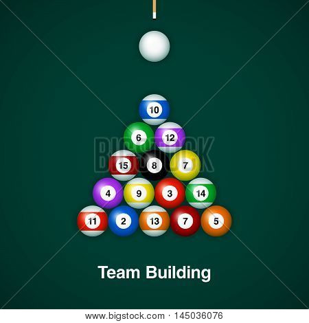 Placed billiard balls on table with cue on green table background. Team building concept design.
