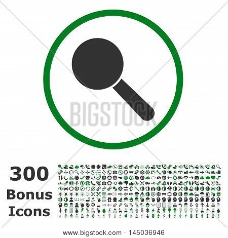 Search Tool rounded icon with 300 bonus icons. Vector illustration style is flat iconic bicolor symbols, green and gray colors, white background.