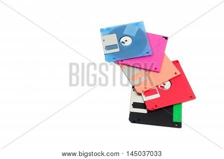 Pile of floppy disk with isolated on white background.