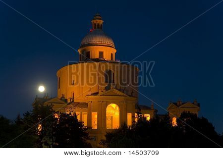 The ancient church of Saint Luca in Bologna, Italy during the night