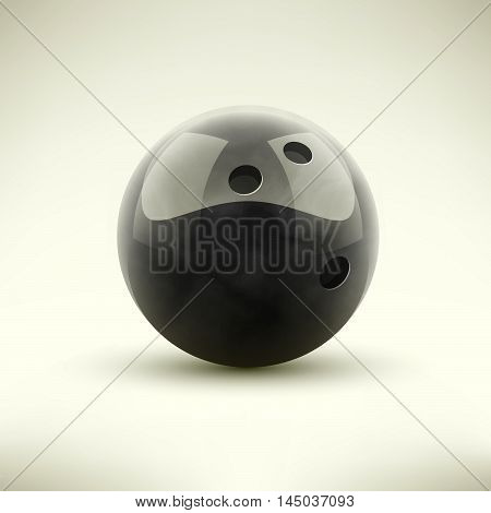 Black bowling ball isolated realictic vector illustration