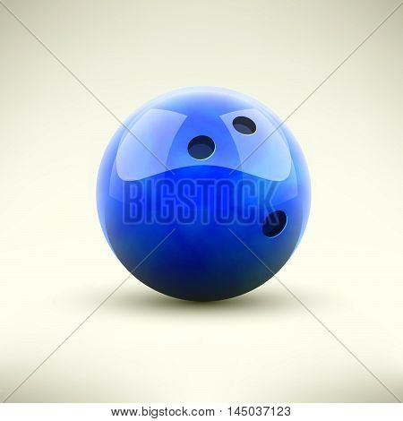 Blue bowling ball isolated realictic vector illustration