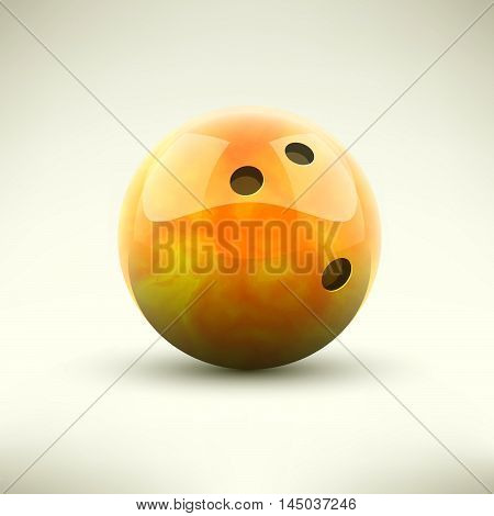 Orange bowling ball isolated realictic vector illustration